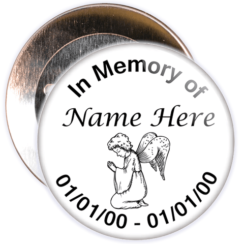 White In Memory Badge with Custom Name & Dates
