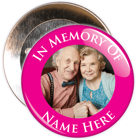 In Memory Of Photo Badge (pink)