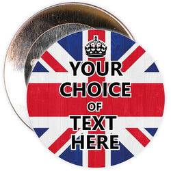 Customisable Keep Calm Badge (Union Jack)