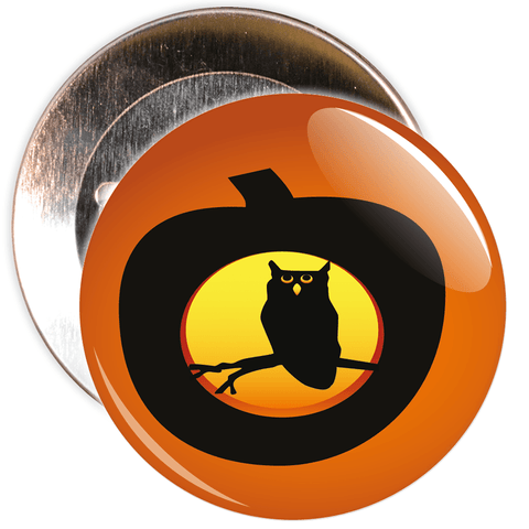 Owl in Pumpkin Halloween Badge