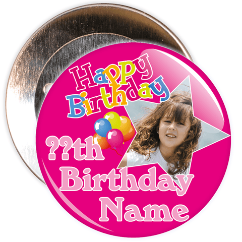Pink Customisable Birthday Photo Badge