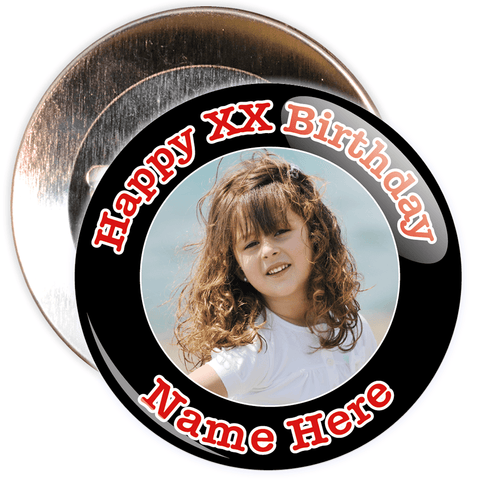 Black Customisable Birthday Photo Badge
