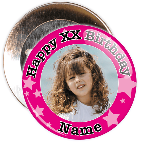 Pink Stars Customisable Birthday Photo Badge