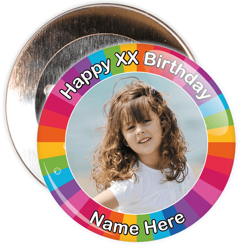 Colourful Customisable Birthday Photo Badge
