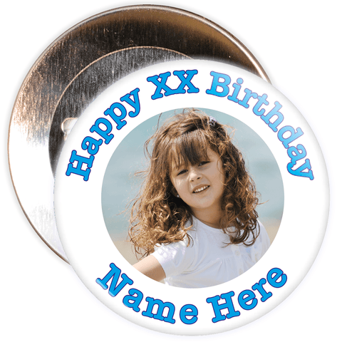 White & Blue Customisable Birthday Photo Badge