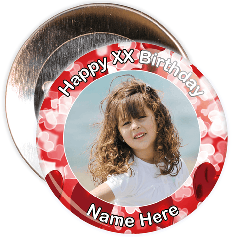 Heart Styled Customisable Birthday Photo Badge