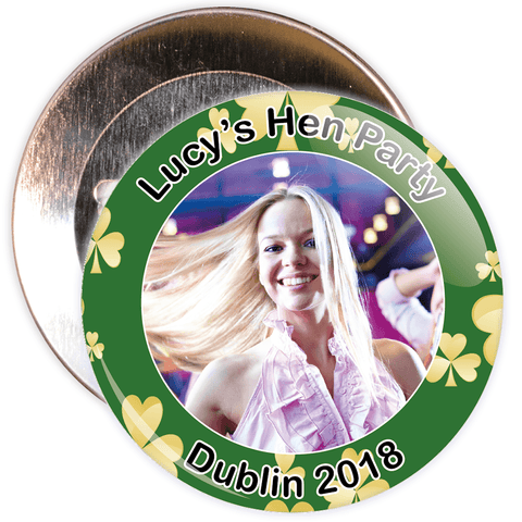 Customisable Irish Themed Photo Hen Party Badge
