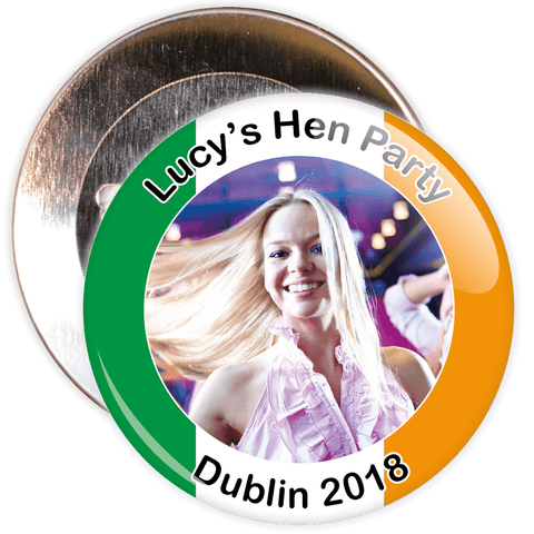 Customisable Irish Themed Photo Hen Badge