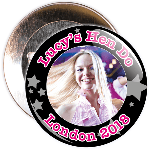 Customisable Black Stars Hen Party Photo Badge