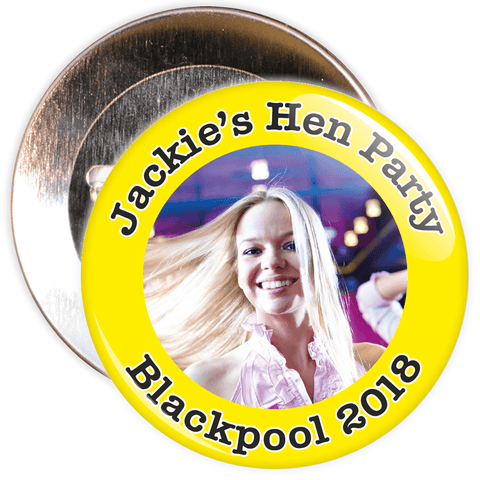 Customisable Yellow Hen Party Photo Badge