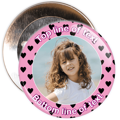 Pink & Black Heart Border Styled Photo Badge