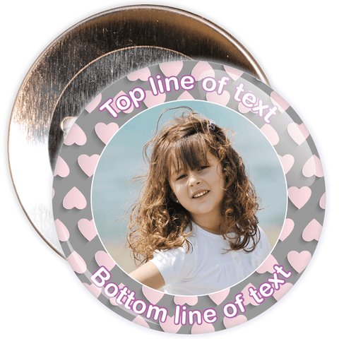 Grey & Pink Heart Border Styled Photo Badge