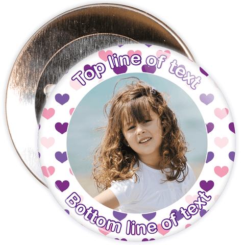 Purple & Pink Heart Border Styled Photo Badge