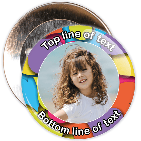 Colourful Heart Border Styled Photo Badge