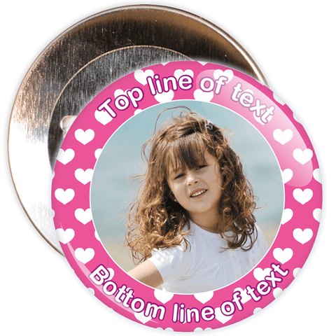 Pink Heart Border Styled Photo Badge