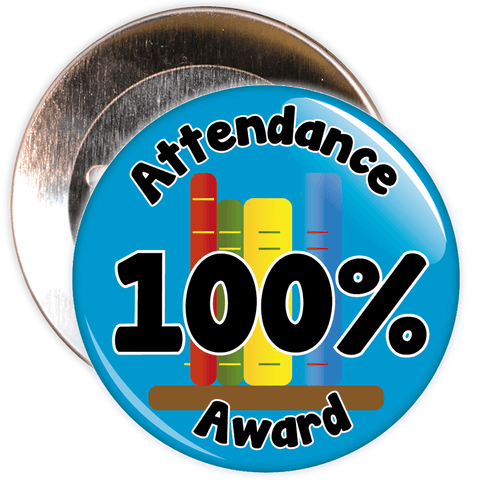 Attendance 100% Award Badge (blue)