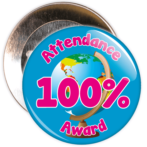 Attendance 100% Award Badge (blue/pink)