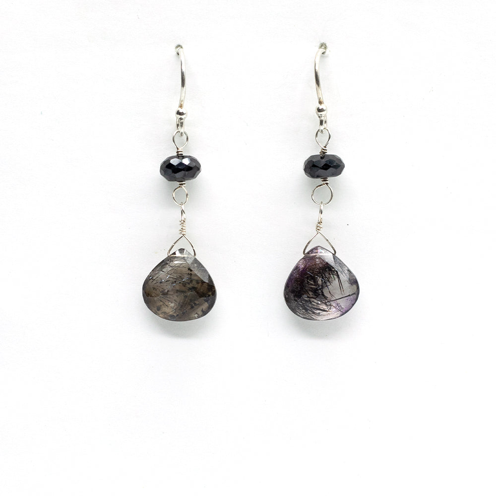 Spinel & Rutilated Quartz Earrings