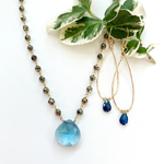 Blue Quartz Waterfall Necklace and Blue Topaz Linden Earrings