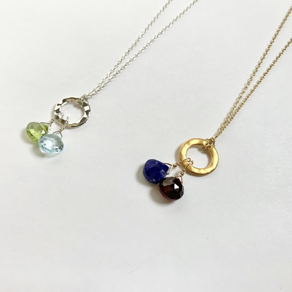 Custom Ring Necklace 2 Stones
