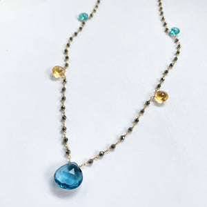5 Stone Mix Waterfall Necklace