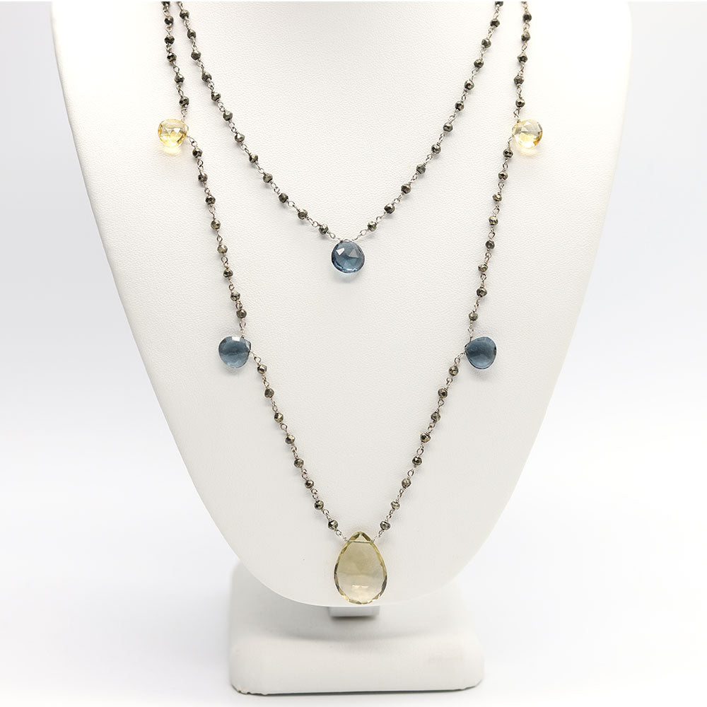 Load image into Gallery viewer, Waterfall 7 Stone Mix Necklace