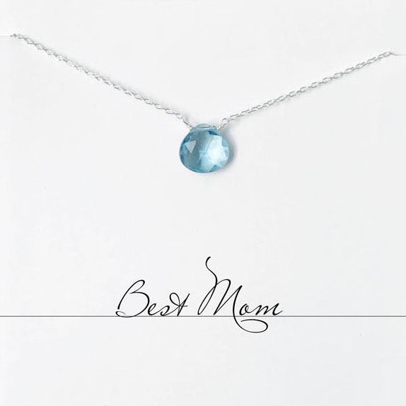 Best Mom Aquamarine Heart Necklace