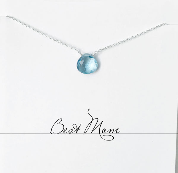 Load image into Gallery viewer, Best Mom Blue Quartz Heart Necklace
