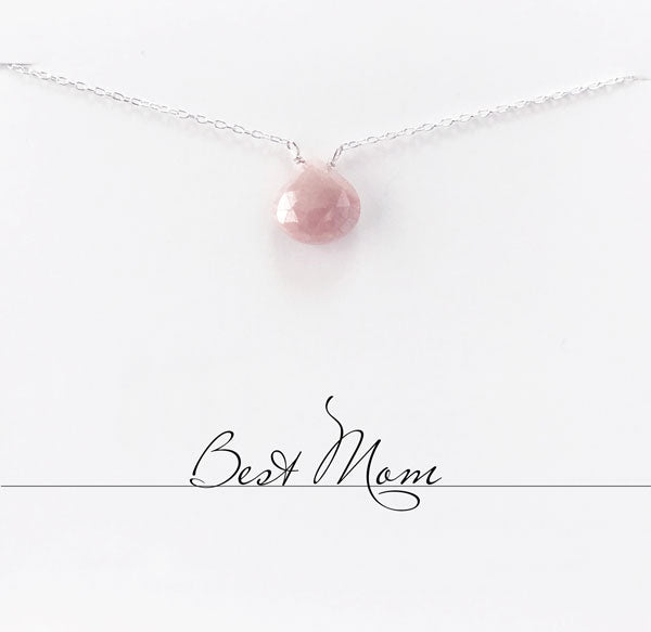 Best Mom Rhodonite Heart Necklace