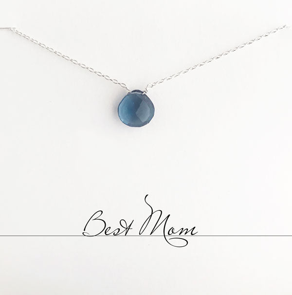 Best Mom Blue Quartz Heart Necklace