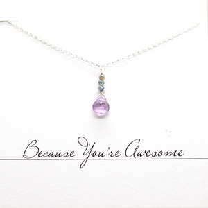 Amethyst & Sapphire Raindrop Necklace