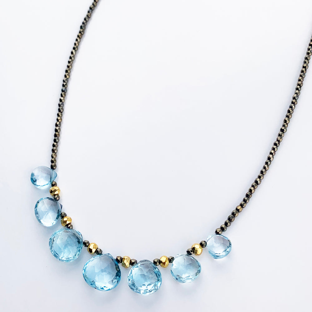 Load image into Gallery viewer, Aquamarine Quarter Ruffle Necklace