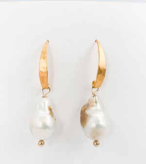 Baroque Gold Pearl Earrings
