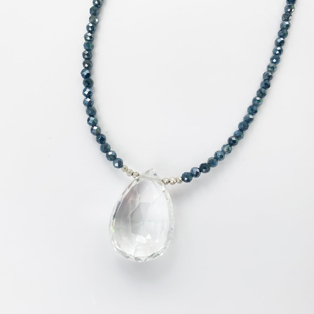 Quartz and Sapphire Pendant Necklace