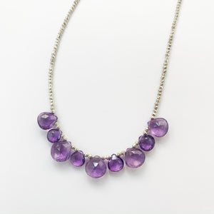 Amethyst Silver Quarter Ruffle Necklace
