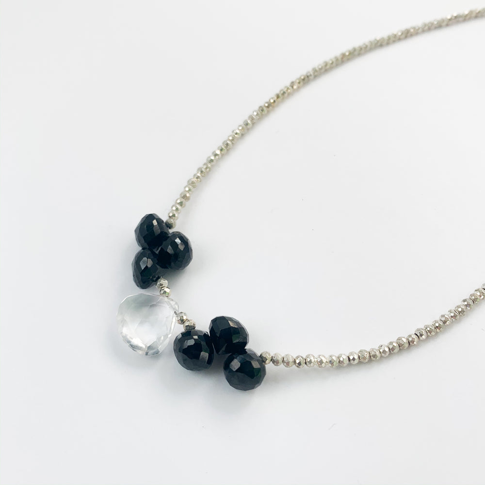 Quartz and Spinel Cluster Necklace