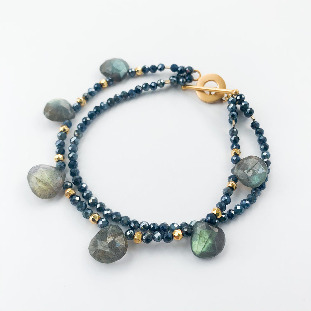 Labradorite and Sapphire Double Strand Bracelet