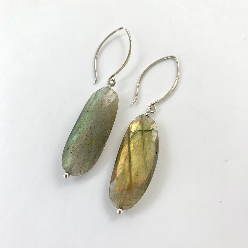 Oval Labradorite Hook Earrings