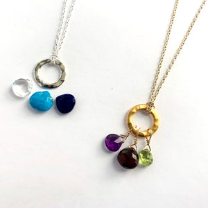 Custom Ring Necklace 3 Stones