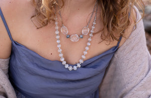 Model with Leilia Grand Moonstone Necklace