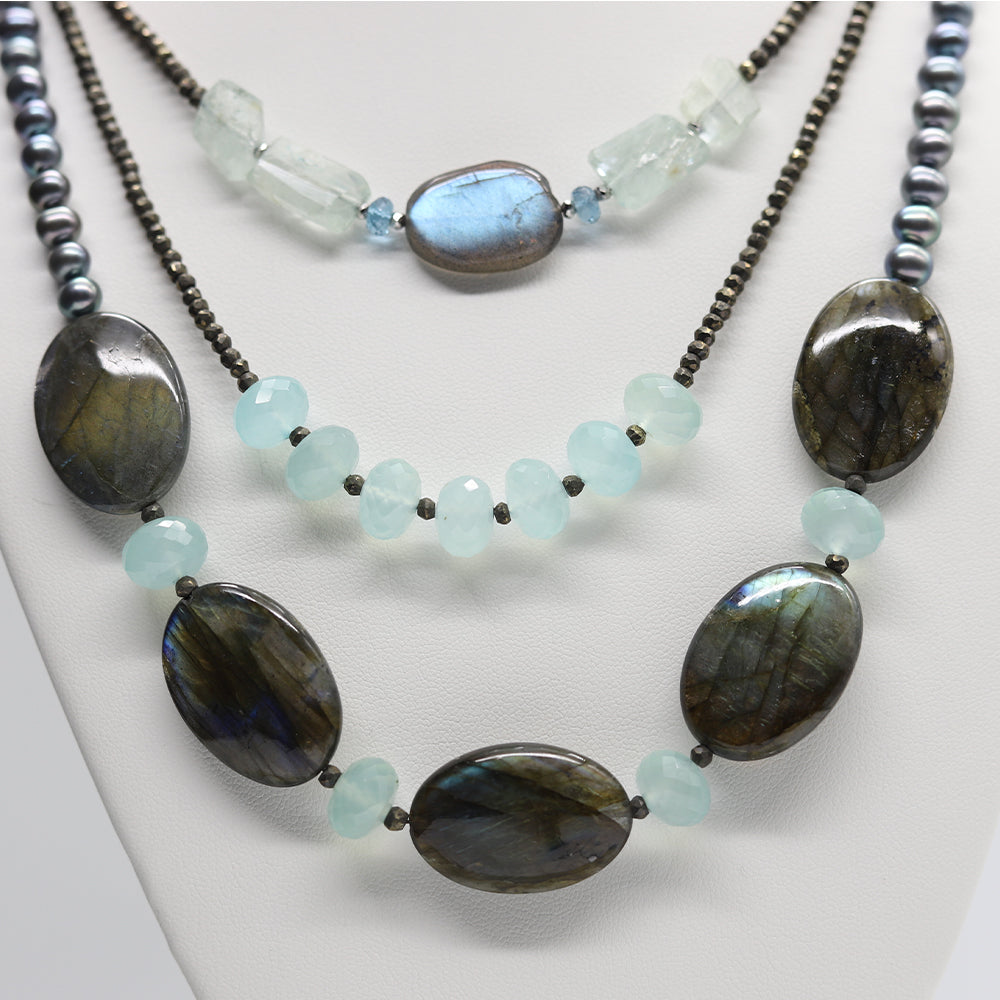 Morning Cloak Labradorite & Chalcedony Necklace close up