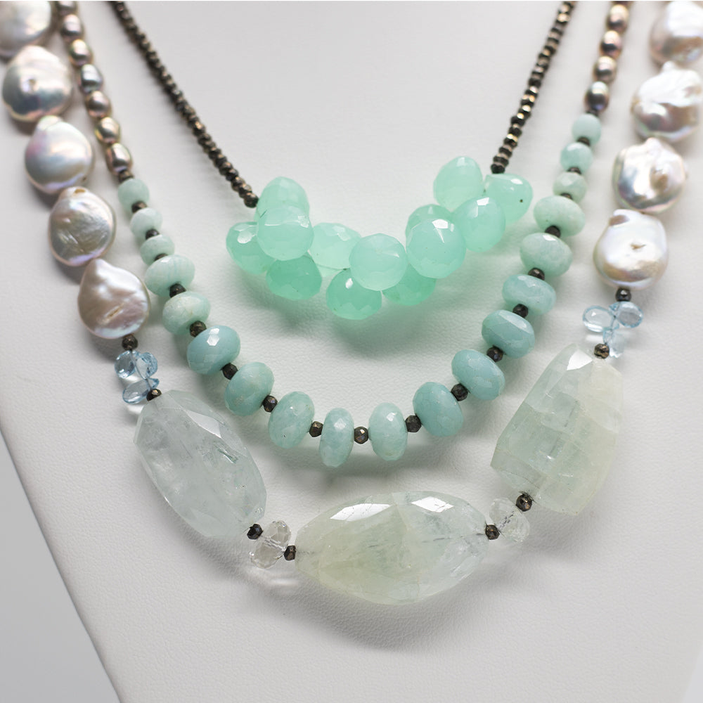 Morning Cloak Aquamarine Chalcedony Necklace close up