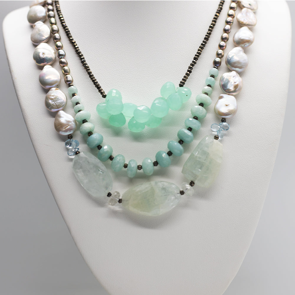 Morning Cloak Aquamarine Chalcedony Necklace