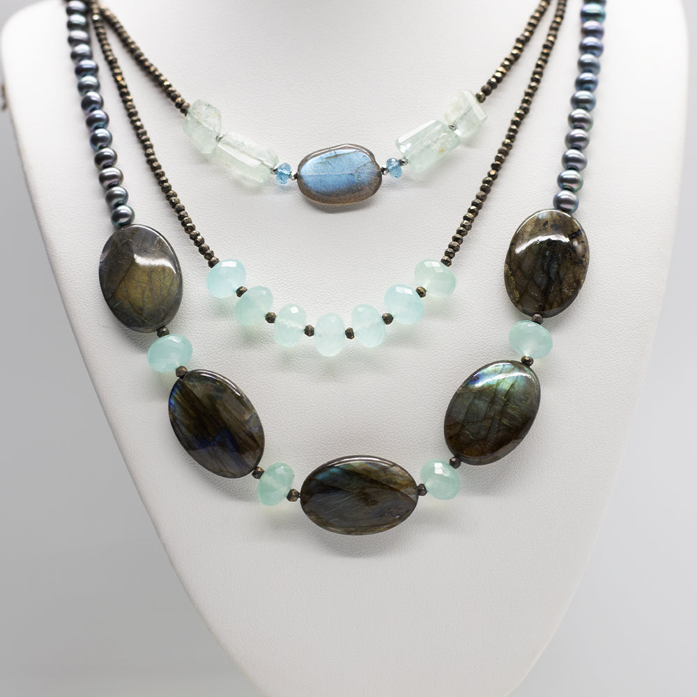 Morning Cloak Labradorite & Chalcedony Necklace