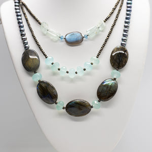 Load image into Gallery viewer, Morning Cloak Labradorite & Chalcedony Necklace