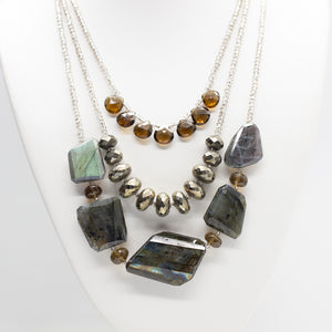 Morning Cloak Labradorite & Smoky Quartz Necklace