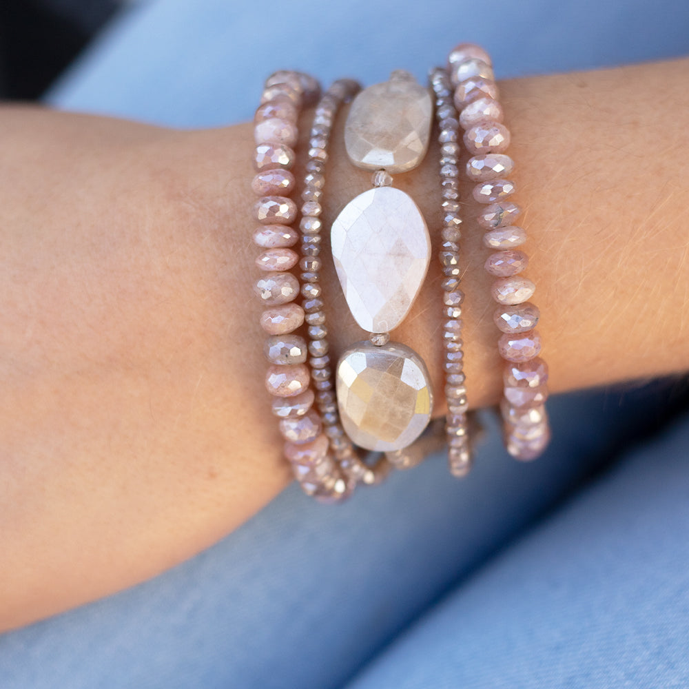 Morning Cloak Pink Moonstone Bracelet