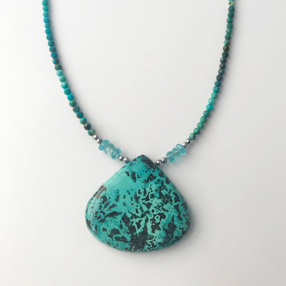 Teardrop Azurite Pendent with Apatite Necklace