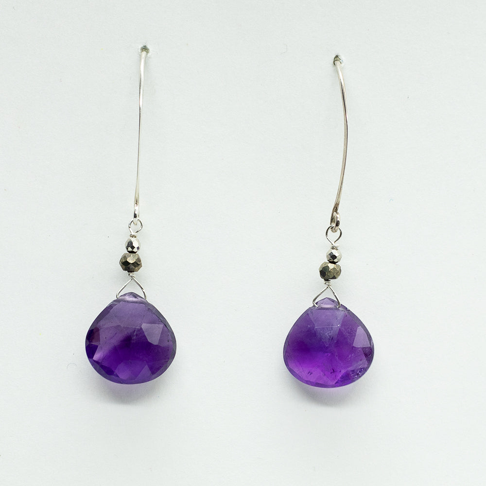 Load image into Gallery viewer, Amethyst Droplet Earrings