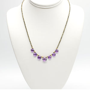 Amethyst & Pyrite Quarter Ruffle Necklace